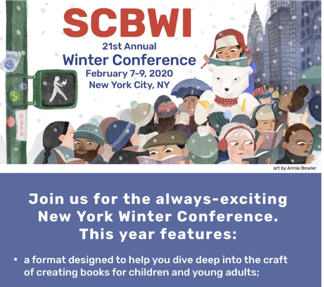 New York Winter Conference ~ February 7-9, 2020 at the Grand Hyatt New York Registration for the 2020 SCBWI Winter Conference in New York City opens today! If you've ever thought about attending one of the bigger conferences, this will be a good one! The featured special guest is Author James Patterson! The conference and hotel rooms sell out quickly so check it out right away if you're interested. Here's the link to register for the conference: https://www.scbwi.org/events/21st-annual-scbwi-winter-conference-in-new-york-ny20/#event-registration Here's the link to book your hotel room: https://www.hyatt.com/en-US/group-booking/NYCGH/G-BCHL Please contact Angie with questions or if you're going!