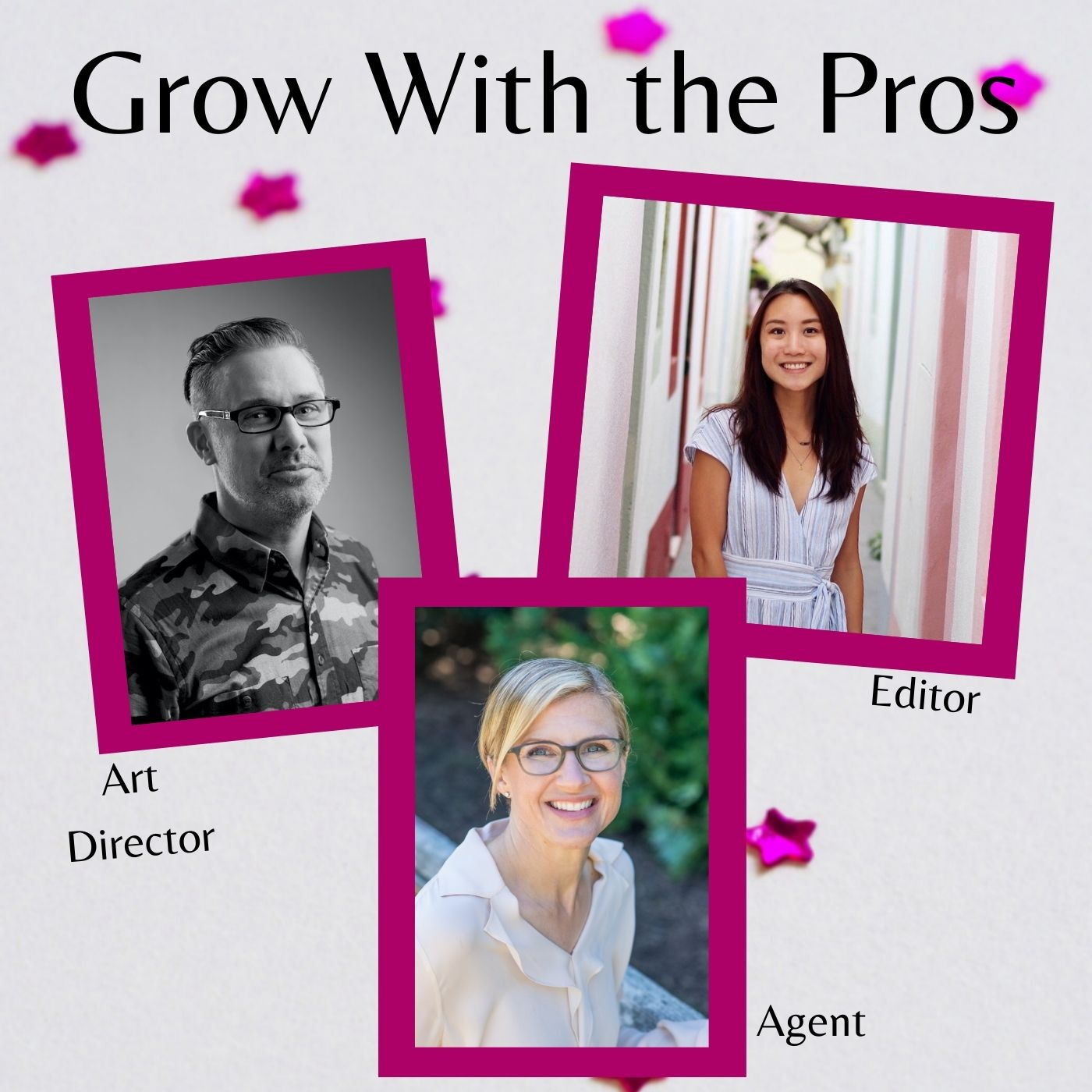 Join us... for three terrific webinars given by industry professionals! Click in each of the following names to be taken their pages for more information and to sign up when registration opens: Editor Erin Siu - March 13, 2021 Art Director Kirk Benshoff - May 1, 2021 Agent Jennifer March Soloway - September 18, 2021