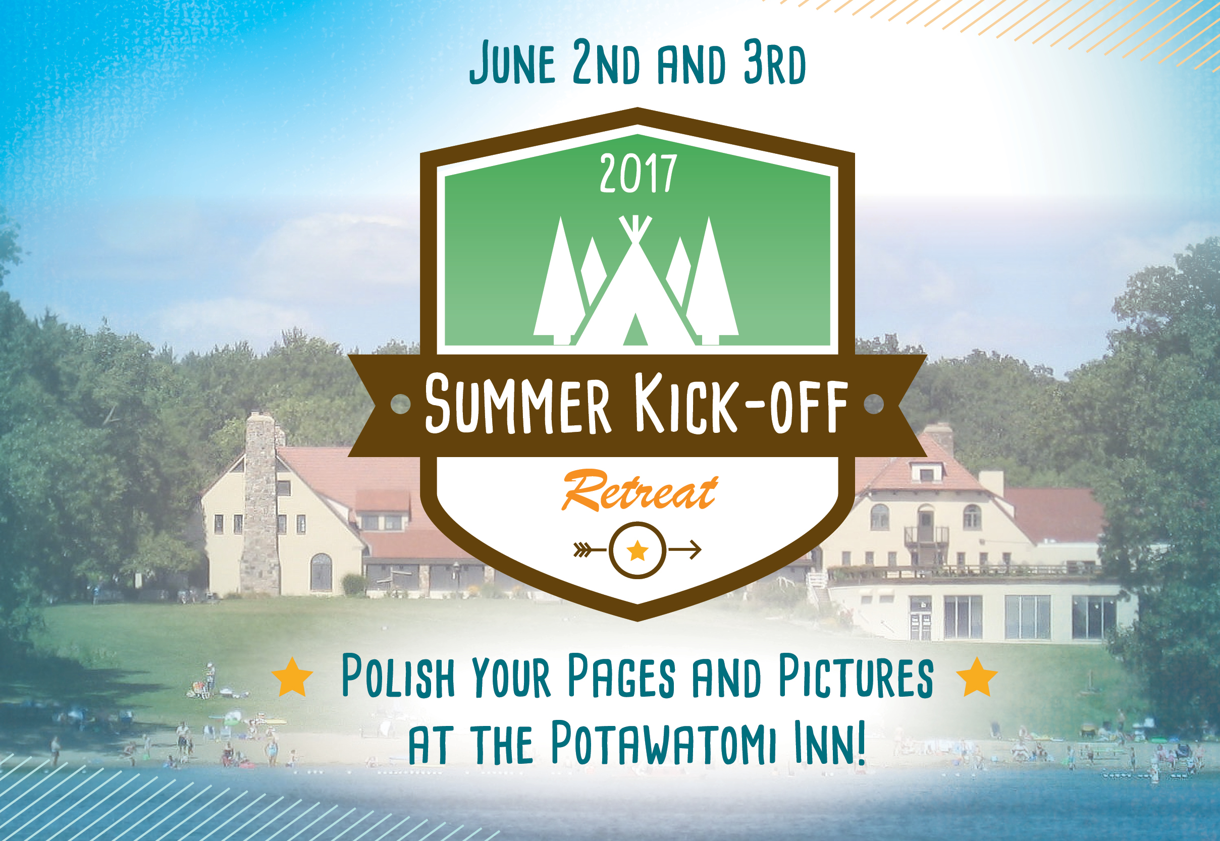 "Please join us for our 2017 SCBWI Summer Kick-Off Retreat at the Potawatomi Inn at Pokagon State Park near Angola, Indiana! We have an exciting line-up with editor Meredith Mundy, agent Danielle Smith, the amazing authors Tammi Sauer and Darcy Pattison, and talented illustrators/authors Troy Cummings and Deborah Marcero! You won't want to miss this opportunity. We are offering 2 hour intensives on Friday, June 2nd in the evening and an all day conference on Saturday, June 3rd.  Early bird registration opens February 8th! Regular registration begins March 1st and closes May 23rd. Click here to register. Hotel Info Potawatomi State Park 6 Ln 150 Lake James - Angola, IN, 46703 (260) 833-1077 http://www.in.gov/dnr/parklake/inns/potawatomi/ Room rate: $89 +tax Registration Pricing: Early Bird SCBWI Member (February 8th-28th): $120.00 Early Bird Non-SCBWI Member (February 8th-28th): $145.00 SCBWI Member Registration: $145.00 Non-SCBWI Member Registration: $170.00 Friday Intensives: $65.00 Critiques: $40.00 SCBWI Summer Kick-Off Retreat Schedule Friday, June 2nd, 2017 4:30pm-5:00pm – Registration 5:00pm-6:00pm – Pizza dinner provided for those attending intensives only 6:00pm-8:00pm – Intensive Choices Meredith Mundy, Tammi Sauer, Troy Cummings – Picture book Teamwork     ◦    Learn the role of an editor, seeking a fabulous manuscript and what it takes to acquire one, find out the author's role in creating and getting a manuscript acquired, and combine that with the role and vision of the illustrator.  Meredith Mundy, editor for Sterling Books, Tammi Sauer, author, and Troy Cummings, author/illustrator, will do just this as they share their process of creating the book, Caring for Your Lion.  Visuals and handouts will be provided, as well as time for Q&A at the conclusion. Danielle Smith- Telling Your Story from the Start     ◦    In this hands-on presentation packed with examples and exercises Lupine Grove Creative agent, Danielle Smith, will explore ways in which you as a writer can not only follow your writing heart, but also find success in your endeavors. With the end goal being that you will leave energized, prepared and in love with what you have to offer the world. Each of us brings something unique to the table, be it years of experience writing or simply loving the craft, but we all have a passion for children's literature. Whether you are pre-published author, an award winning illustrator, a best-selling author or simply starting from the beginning, your story matters! But knowing how and sometimes which book to put forward is the toughest choice of all. How is your book going to be discovered? By agents? By publishers? By librarians and booksellers? By bloggers and readers? Knowing how to talk about your book is crucial — and somewhat different — at every step in the process. Every writer should come prepared with at least one finished picture book manuscript and one picture book pitch/query. We will spend a large portion of our time unpacking, editing and honing your manuscript in hopes that you will leave with a wonderful new chapter in your writing process.  Darcy Pattison– Anyone Can Write a Great Chapter - How to See Your Novel's Structure     ◦    Using the magic of computers, we'll shrink manuscript, spreadsheet 'em, and bring them into focus. Strategies for making the structure of a novel visible, so the story comes alive and keeps readers turning pages. Saturday, June 3rd, 2017 7:00 – 8:30 – Breakfast buffet at hotel 8:30-9:00 – Registration 9:00-9:45 – Kick-off Keynote with agent, Danielle Smith 9:50-10:35 – General session – Competing with Mo Willems- Darcy Pattison 10:35-10:45- Break 10:45 – 11:00 – Making Smart Dummies – Troy Cummings 11:00-11:15-Break and travel to sessions 11:15-12:00– Break out sessions     •    Meredith – Picture Book First Lines     •    Danielle – The Business of Writing     •    Darcy – Indy Publishing Today     •    Tammi – Picture book Plotting 12:00-1:00 – Lunch Buffet 1:00-3:00 – Time to polish your pictures and pages! Paid face-to-face critiques will take place during this time, optional free peer critique round tables will be running, take time inside our outside of the beautiful resort to work on something you just learned, or shop in the bookstore! 3:00-3:45 – Closing keynote with Tammi Sauer 3:45 – Closing remarks and door prizes 4:00-5:00 – Book signing *Times are subject to change if necessary Bookstore The bookstore will be open Saturday during the conference to purchase books by our speakers and PAL members. If you are a PAL (Published And Listed) member of SCBWI attending the conference, you may submit one PAL book title for sale at our conference bookstore. Please email your PAL title and its ISBN# by May 1st to: Sharon Vargo at indiana-ic@scbwi.org with "" SCBWI Summer PAL Title"" in the subject line. Manuscript Critques A limited number of manuscript critiques are available from conference faculty for $40 each. They will be 20 minute one-on-one sessions with written comments included. If you have registered and paid for a critique: • For picture books, attach the entire manuscript, for MG and YA, please send 10 pages and a one page synopsis.  ​(Do not include photos or illustrations.) • Use 12-point font, Times New Roman, doublespaced, 1-inch margins • Number and include your name on each page. • Include the specific genre on the first page at the top. • Manuscripts must be received by May 1st via email with ""INSCBWI Manuscript (last name)"" in the subject line to: kmitschelen@hotmail.com  • Late submissions will not be accepted. *Keep in mind that critiques are usually in high demand and the slots may fill up quickly. Portfolio Critiques A limited number of one-on-one 20 minute portfolio critiques will be available on a first come basis.  Simply register for a portfolio critique and we will let you know the exact time of your consultation at registration. A total of 10 images will be reviewed. Please keep the 10 images you would like reviewed in the front pages of your portfolio to make the best use of your critique time. *Keep in mind that critiques are usually in high demand and the slots may fill up quickly. Portfolio Display No added charge. Drop off your portfolio on the table marked, ""Portfolio Display"" during registration on Saturday morning. The faculty will mark their favorite illustration in every portfolio.  You may also bring promotional postcards as handouts. Please pick up your portfolio before lunch at noon.  We are not responsible for your portfolio. Have your name on each page of your portfolio.  No original artwork, framed art, easels or props are permitted. Have high-quality color copies of your illustrations that are appropriate for children's books.  Summer Kick-Off Retreat Faculty Troy Cummings / Author/Illustrator Troy Cummings has been writing and illustrating since he was a little kid. Among other things, he's the creator of  GIDDY-UP, DADDY!, the tale of a man mistaken for a horse, and THE NOTEBOOK OF DOOM, an early-reader chapter book series about a kid who moves to a town full of monsters. Troy Cummings lives in Greencastle, Indiana with his nice family and mean cat.   Meredith Mundy / Editor  Meredith Mundy has been editing books for young readers for 22 years, and hopes to continue doing so for at least 22 more! Following a decade at Dutton Children's Books, she is now executive editor at Sterling Children's Books, where she has been acquiring everything from board books to young adult novels. She has had the pleasure of working with such talented authors as Tammi Sauer, Kim Norman, Linda Ashman, Tara Lazar, Jim Arnosky, John Briggs, and Karen Kaufman Orloff. Originally from Colorado Springs, Colorado, Meredith went to Smith College for an undergraduate degree in Comparative Literature/Studio Art, and to NYU for an MFA in Creative Writing, which gave her the best possible glimpse of what life is like on the other side of the desk. She lives in Jersey City, New Jersey, with her graphic designer husband, Richard, and their red tabby, Martha.   Darcy Pattison / Author Storyteller, writing teacher, Queen of Revisions, and founder of Mims House (www.mimshouse.com) publisher, Darcy Pattison has been published in nine languages. Her books, published with Harcourt, Philomel/Penguin, Harpercollins, Arbordale, and Mims House have received recognition for excellence with starred reviews in Kirkus, BCCB and PW. Three of her books have been honored as National Science Teacher's Association Outstanding Science Trade books. The Journey of Oliver K. Woodman (Harcourt) received an Irma Simonton Black and James H. Black Award for Excellence in Children's Literature Honor Book award, and has been published in a Houghton Mifflin textbook. Darcy is the 2007 recipient of the Arkansas Governor's Arts Award for Individual Artist for her work in children's literature.   Tammi Sauer / Author  Tammi Sauer is a full time children's book author who also presents at schools and conferences across the nation. She has sold 28 picture books to major publishing houses including Disney*Hyperion, HarperCollins, Houghton Mifflin Harcourt, Penguin Random House, Simon & Schuster, and Sterling. In addition to winning awards, Tammi's books have gone on to do great things. CHICKEN DANCE:  THE MUSICAL is currently on a national tour, NUGGET & FANG was a featured book at the 2015 Scholastic Book Fair, and YOUR ALIEN, an NPR Best Book of 2015, was recently released in Italian, Spanish, Korean, and French which makes her feel extra fancy. You can learn more about Tammi and her books at tammisauer.com.     Danielle Smith / Agent Danielle Smith is the mother of two wonderful children and wife to a practicing attorney. She began her agent career at Fuse Literary in 2013, but made the move to Red Fox Literary in March of 2014 where she represented children's book authors and illustrators alongside her mentor and partner at Red Fox Literary LLC, Abigail Samoun. In January of 2017 she left Red Fox Literary to form her own agency, Lupine Grove Creative, LLC with the hope of continuing to nurture creatives in a supportive and intuitive environment that brings about books children will love for generations to come. Danielle's publishing career began with her well known book reviews and articles, of which many can still be found at There's A Book. Additionally she wrote for print & online publications such as Women's World and Parenting Magazine. She's an author, literacy advocate, professional flutist and movie lover. Danielle has also served as a judge for the Cybils Awards in the picture book category for three years as well as for the INSPYs and various other writing competitions."